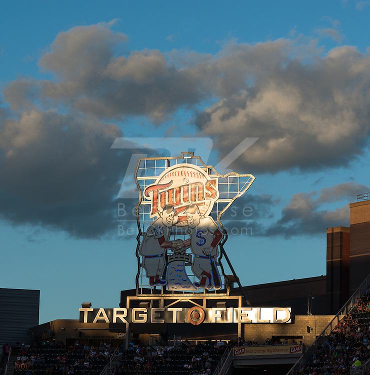 A general view the Minnie and Paul sign at Target Field on August 2, 2013 in Minneapolis, Minnesota.  Photo by Ben Krause