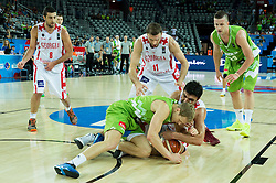 Jaka Blazic of Slovenia fighting for a ball with Zaza Pachulia of Georgia during basketball match between Slovenia and Georgia at Day 2 in Group C of FIBA Europe Eurobasket 2015, on September 6, 2015, in Arena Zagreb, Croatia. Photo by Vid Ponikvar / Sportida