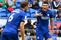 Football - 2021 / 2022 EFL Sky Bet Championship - Cardiff City vs AFC Bournemouth - Cardiff City Stadium - Saturday 18th September 2021<br /> <br /> Kieffer Moore CARDIFF CITY remonstrates with Will Vaulks CARDIFF CITY after shooting at goal<br /> <br /> COLORSPORT/WINSTON BYNORTH
