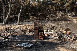 July 13, 2017 - Goleta, California - Damaged property is seen nearby the Cachuma Lake Recreation Area as a result of the Whittier Fire in Santa Barbara County east of Goleta, California. (Credit Image: © Joel Angel Juarez via ZUMA Wire)