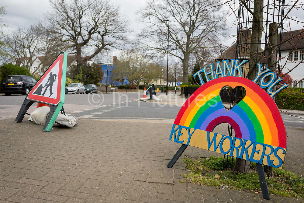 As the second week of the Coronavirus lockdown continues the UK death toll rises by 569 to 2,921, with 1m figure reported cases of Covid-19 being passed worldwide, a home-made tribute appreciating the work of NHS workers is propped up against a tree on Denmark Hill which leads to nearby Kings College Hospital in Camberwell, one of the capitals major centres treating CV-19 patients, on 2nd April 2020, in London, England.
