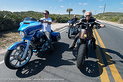 Zach Ness riding AIA north of Daytona beside his grandpa Arlen Ness and his dad Cory in back during the Daytona Bike Week 75th Anniversary event. FL, USA. Monday March 7, 2016.  Photography ©2016 Michael Lichter.