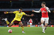 Andre Gray of Burnley in action. The Emirates FA cup, 4th round match, Arsenal v Burnley at the Emirates Stadium in London on Saturday 30th January 2016.<br /> pic by John Patrick Fletcher, Andrew Orchard sports photography.