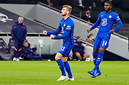 Goal 0-1 Chelsea forward Timo Werner (11) scores a goal and celebrates during the EFL Cup Fourth Round match between Tottenham Hotspur and Chelsea at Tottenham Hotspur Stadium, London, United Kingdom on 29 September 2020.