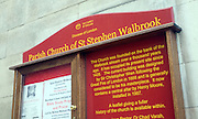 Parish church of St Stephen, Walbrook, City of London, London, information noticeboard outside