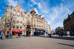 Orchard Square at the top of Fargate one of the areas of Sheffield left almost deserted after Venues and shops close in to try and stem the spread of the Coronavirus<br /> Monday 22 March 2020<br /> <br /> www.pauldaviddrabble.co.uk<br /> All Images Copyright Paul David Drabble - <br /> All rights Reserved - <br /> Moral Rights Asserted -