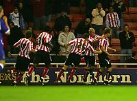 Photo: Andrew Unwin.<br /> Sunderland v Cardiff City. Coca Cola Championship. 31/10/2006.<br /> Sunderland's Chris Brown (R) celebrates scoring his team's first goal.