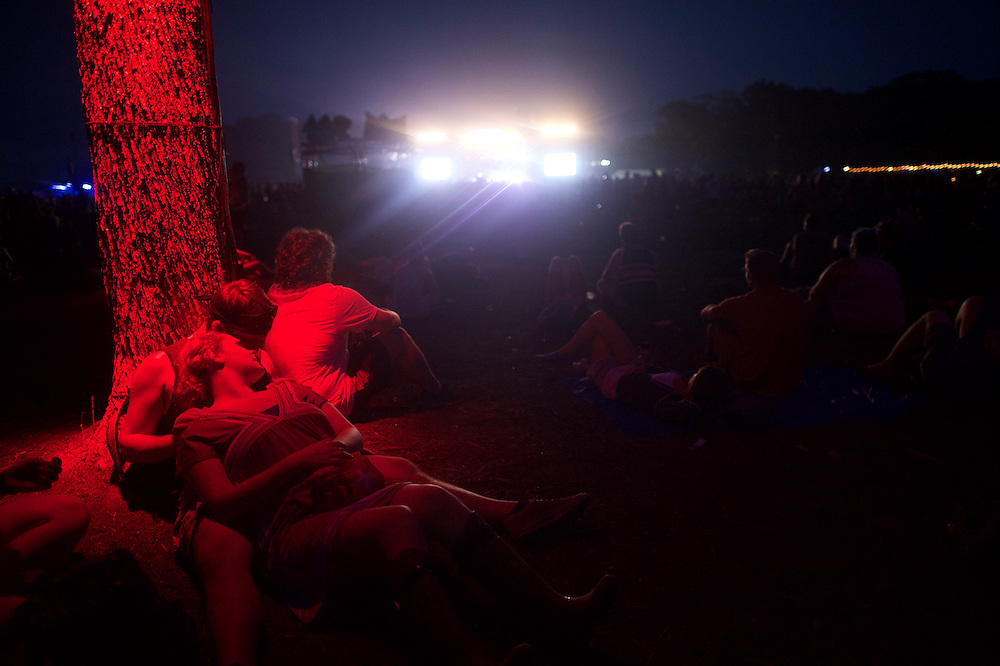 Josh Ravier, 25, and Kaitlin Bevan, 23, embrace during the Firefly Music Festival in Dover, Delaware June 20, 2015.  According to organizers, attendance exceeded 90,000 for the four day festival, which featured more than 110 acts, and was set in 105 acre grounds of the Dover International Speedway.