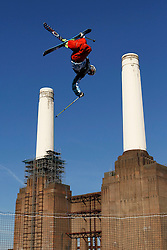 © Licensed to London News Pictures. 28/10/2011, London, UK.  Britain's Andy Matthew jumps during the practice for Battle of Britain freestyle ski competition at the Freeze Snowboard and Ski Festival at Battersea Power Station in London, Friday, Oct. 28, 2011. Photo credit : Sang Tan/LNP