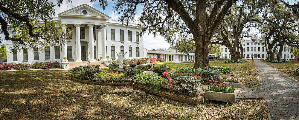Panoramic veiw of Xavier Hall, left, and St. Mary's Hall at the Manresa House of Retreats in Convent, La,