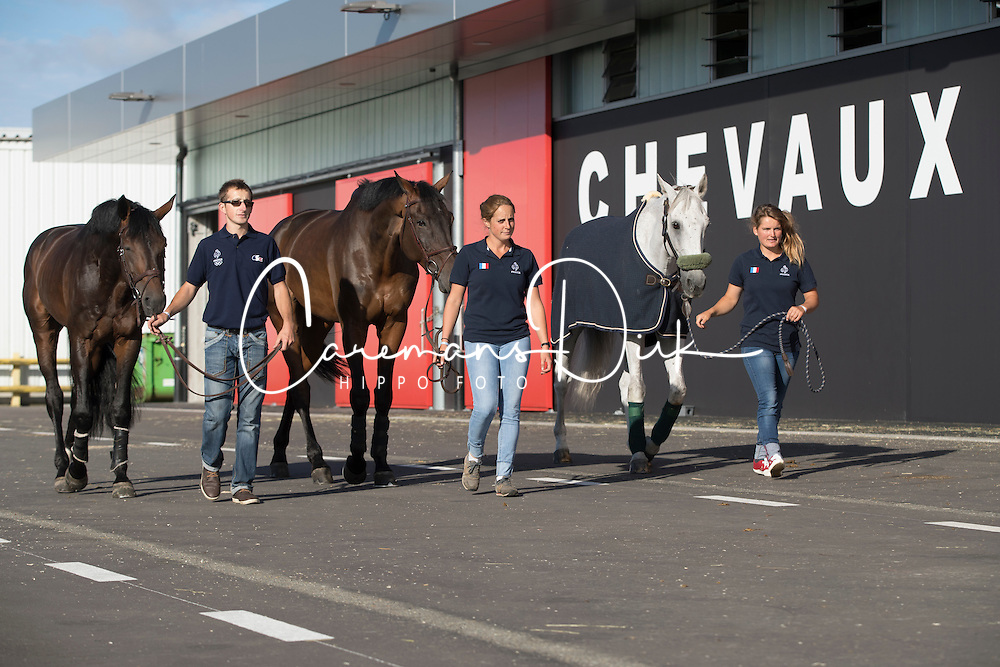 Team France<br /> Departure of the horses to the Rio Olympics from Liege Airport - Liege 2016<br /> © Hippo Foto - Dirk Caremans<br /> 30/07/16
