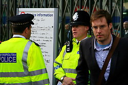 British Transport Police stand guard at King's Cross Underground station.© under license to London News Pictures. 01/11/2010.Tube Strike, RMT and TSSA members strike over job cuts and safety issues.