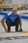 """Glasgow. SCOTLAND.  Italian """"Vice"""", Amos MOSANER, tracks the path of his """"Stone during the """"Round Robin"""" Game. Italy vs Switzerland Le Gruyère European Curling Championships. 2016 Venue, Braehead  Scotland<br /> Tuesday  22/11/2016<br /> <br /> [Mandatory Credit; Peter Spurrier/Intersport-images]"""