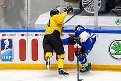 Sergei Malyavko of Belarus vs Tadej Cimzar of Slovenia during ice hockey match between Slovenia and Lithuania at IIHF World Championship DIV. I Group A Kazakhstan 2019, on May 5, 2019 in Barys Arena, Nur-Sultan, Kazakhstan. Photo by Matic Klansek Velej / Sportida