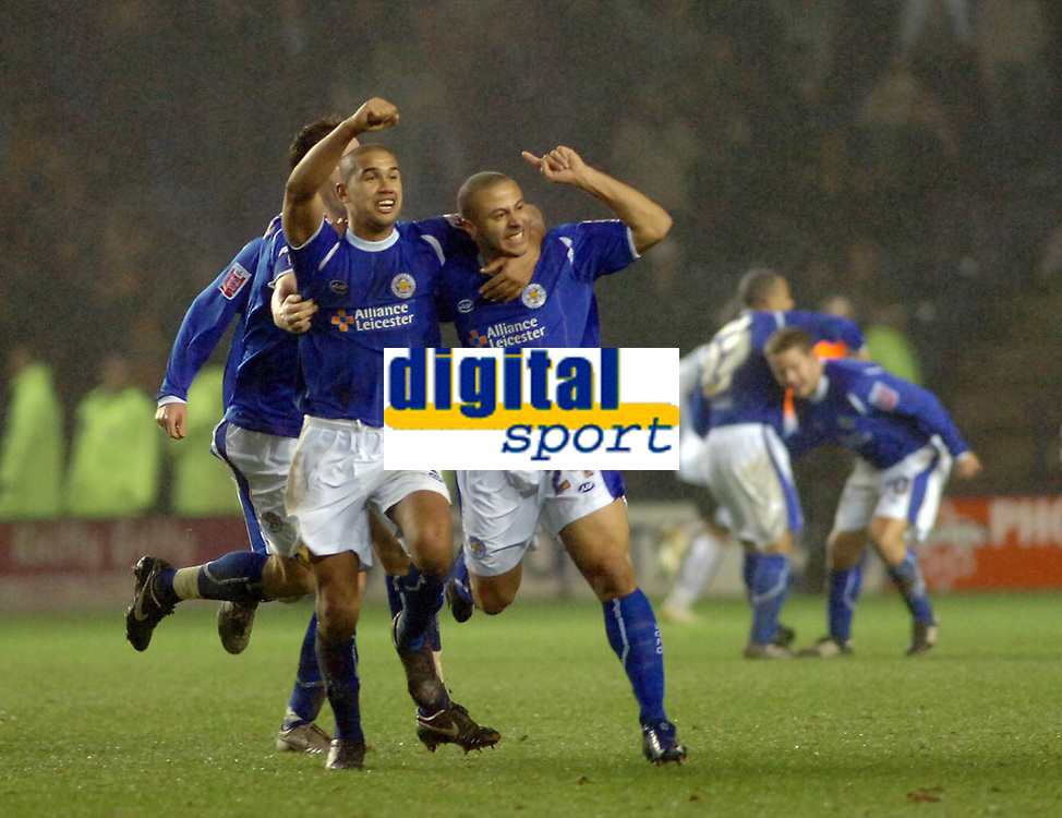 Photo: Kevin Poolman.<br />Leicester City v Fulham. The FA Cup. 06/01/2007. Danny Cadamarteri (no24) of Leicester celebrates his goal with team mate Patrick Kisnorbo (left) who scored their first goal.