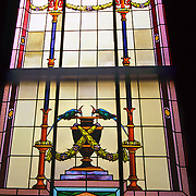 South America, Uruguay, Montevideo, Capitol building. Stained glass window adorns national Capitol.
