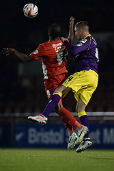 Leyton Orient's Kevin Lisbie and Notts County's Gary Liddle compete for the ball  - Photo mandatory by-line: Mitchell Gunn/JMP - Tel: Mobile: 07966 386802 17/09/2013 - SPORT - FOOTBALL -  Matchroom Stadium - London - Leyton Orient v Notts County - Sky Bet League One