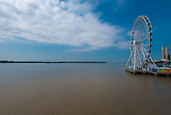 Guayaquil, Ecuador--April 15, 2018.  A huge ferris wheel, 187 feet high, on the banks of the Guayas river in Guayaquil, Ecudaor. Editorial use only.