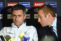 Fotball<br /> Foto: BPI/Digitalsport<br /> NORWAY ONLY<br /> <br /> 19.10.2004<br /> Chelsea FC Champions League <br /> PC and training, Stamford Bridge<br /> <br /> Chelsea's manager Jose Mourinho is advised not to answer questions directly about Adrian Mutu by the Chelsea press officer.