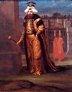Sultan Mahmud I by Jean Baptiste Vanmour (1671-1737) oil on canvas c 1737.  Sultan Mahmud I wears a fur-lined kaftan and a kind of turban.  Mahmud was less worldly than his uncle and predecessor Ahmed II, who, after an uprising in 1731 had to step down because his extravagant lifestyle was no longer tolerated.
