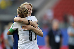 June 29, 2019 - Rennes, France - Nilla Fischer of Sweden consoles Alexandra Popp of Germany following Germany's defeat in the 2019 FIFA Women's World Cup France Quarter Final match between Germany and Sweden at Roazhon Park on June 29, 2019 in Rennes, France. (Credit Image: © Jose Breton/NurPhoto via ZUMA Press)