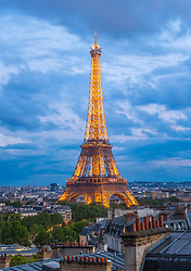 Eiffel Tower dusk from 16th Arrondisement, Paris, France. 09/05/14. Photo by Andrew Tallon