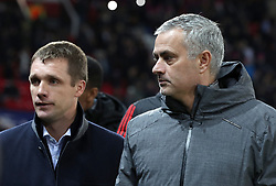 CSKA Moscow manager Viktor Goncharenko (left) and Manchester United manager Jose Mourinho before the UEFA Champions League match at Old Trafford, Manchester.