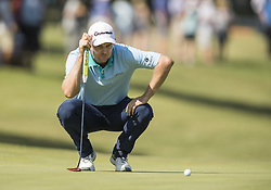 May 25, 2018 - Fort Worth, TX, USA - FORT WORTH, TX - MAY 25, 2018 - Justin Rose lines up a putt on the 18th hole during the second round of the 2018 Fort Worth Invitational PGA at Colonial Country Club in Fort Worth, Texas (Credit Image: © Erich Schlegel via ZUMA Wire)