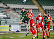 Plymouth Argyle Midfielder Danny Mayor (10) heads the ball under pressure from Sunderland Forward Jack Diamond (21)  during the EFL Sky Bet League 1 match between Plymouth Argyle and Sunderland at Home Park, Plymouth, England on 1 May 2021.