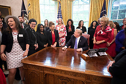 April 29, 2019 - Washigton, District of Columbia, U.S. - President DONALD TRUMP welcomes the 2019 National Teacher of the Year Award winners to the Oval Office Monday, April 29, 2019, at the White House. (Credit Image: ? White House/ZUMA Wire/ZUMAPRESS.com)
