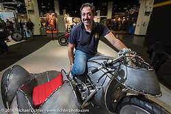 Vincenzo Ciancio on his Inglourious Basterds (Italy) built PanUral 900 cc Ural bottom end - Harley-Davidson top end custom with sidecar in the AMD World Championship of Custom Bike Building in the custom themed Hall 10 at the Hall 10 with its all custom focus at the Intermot Motorcycle Trade Fair. Cologne, Germany. Thursday October 6, 2016. Photography ©2016 Michael Lichter.