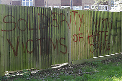 © Licensed to London News Pictures. 03/04/2017. Croydon, UK. Graffiti near the scene of a racial attack on a teenage asylum seeker by a gang of youths. Ten people have arrested, five charged and three remain in custody in relation with the incident which took place late on Friday evening.  Photo credit: Presspics/LNP
