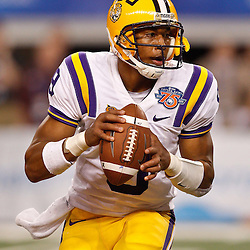 Jan 7, 2011; Arlington, TX, USA; LSU Tigers quarterback Jordan Jefferson (9) against the Texas A&M Aggies  during the fourth quarter of the 2011 Cotton Bowl at Cowboys Stadium. LSU defeated Texas A&M 41-24.  Mandatory Credit: Derick E. Hingle