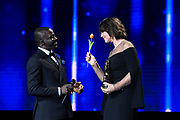 Brussels , 01/02/2020 : Les Magritte du Cinema . The Academie Andre Delvaux and the RTBF, producer and TV channel , present the 10th Ceremony of the Magritte Awards at the Square in Brussels .<br /> Pix: Monica Bellucci; Kody , dressed by Maison Degand<br /> Credit : Alexis Haulot - Dana Le Lardic - Didier Bauwerarts - Frédéric Sierakowski - Olivier Polet / Isopix