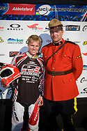 2012 Supercross World Champion #1 (WILLOUGHBY Sam) AUS with a Canadian Mountia after winning the Time Trial at the 2012 UCI BMX Supercross World Cup in Abbotsford, Canada
