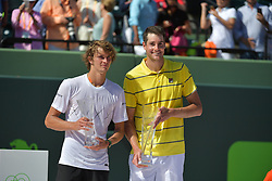 April 1, 2018 - Key Biscayne, Florida, United States Of America - KEY BISCAYNE, FL - APRIL 01: John Isner of the United States holds the Butch Bucholz trophy after his three set victory against Alexander Zverev of Germany in the mens final during the Miami Open Presented by Itau at Crandon Park Tennis Center on April 1, 2018 in Key Biscayne, Florida...People:  John Isner..Transmission Ref:  FLXX..Must call if interested.Michael Storms.Storms Media Group Inc..305-632-3400 - Cell.305-513-5783 - Fax.MikeStorm@aol.com.www.StormsMediaGroup.com (Credit Image: © SMG via ZUMA Wire)