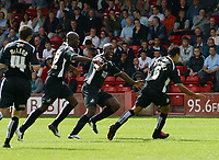 Photo: Paul Thomas.<br /> Walsall v Swansea. Coca Cola League 1.<br /> 27/08/2005.<br /> <br /> Roberto Martinez celebrates his goal.