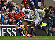 England wing Christian Wade (Wasps) runs in his second try during the International Rugby Union match England XV -V- Barbarians at Twickenham Stadium, London, Greater London, England on May  31  2015. (Steve Flynn/Image of Sport)