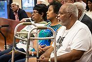 Geraldine Mayho, Sharon Lavigne and her brother, Milton Cayette, Jr. at the March 25, St. James Parish Council Meeting in Convent Louisiana where they came to express  their opposition to Wanhua, another company that was seeking to build a a petetrochemcial plant in St. James Parish.