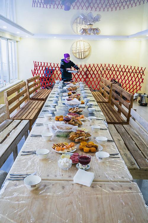 Breakfast spread Baitor Guesthouse - Day 4 Silk Road Freeride Competition, Jyrgalan, KG.