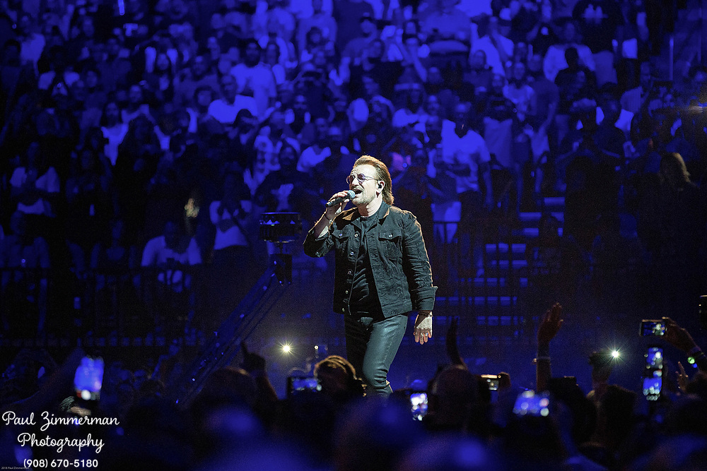 NEWARK, NJ - JUNE 29:  Bono of U2 performs onstage during the eXPERIENCE + iNNOCENCE TOUR at Prudential Center on June 29, 2018 in Newark, New Jersey.  (Photo by Paul Zimmerman/Getty Images) *** Local Caption *** Bono