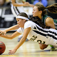 012414  Adron Gardner/Independent<br /> <br /> Chinle Wildcat Brittany Yazzie (12), lef,t and Tuba City Warrior Shawntae Chee (12) dive for a ball in Chinle Friday.