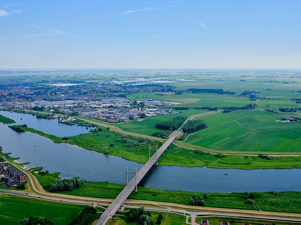 Nederland, Gelderland, Kampen, 21–06-2020; provinciale wegN764gaat over de IJssel. De tuibrug wordt ook De Nieuwe brug genoemd.<br /> Provincial road N764 crosses the IJssel. The cable-stayed bridge is also called The new bridge.<br /> <br /> luchtfoto (toeslag op standaard tarieven);<br /> aerial photo (additional fee required)<br /> copyright © 2020 foto/photo Siebe Swart