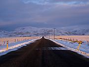 Sunset illuminating Princess Mine Road leading north toward the Smoky Mountains east of Fairfield, Idaho.