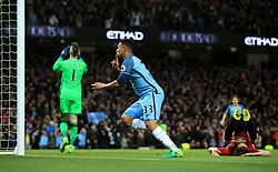 Manchester City's Gabriel Jesus celebrates prior to realising his goal has been ruled out for offisde during the Premier League match at the Etihad Stadium, Manchester.