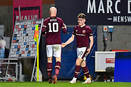 GOAL Euan Henderson (#31) of Heart of Midlothian FC celebrates with Liam Boyce (#10) of Heart of Midlothian FC after scoring Hearts third goal during the SPFL Championship match between Heart of Midlothian FC and Alloa Athletic FC at Tynecastle Park, Edinburgh, Scotland on 9 April 2021.