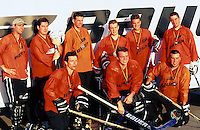 1998:  Team Bauer group photo during NHL Breakout grass roots program.  Hockey at the beach in Santa Monica, CA.  Transparency slide scan.