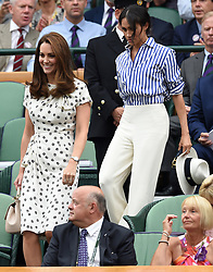 The Duchess of Cambridge and The Duchess of Sussex watch the Womens final at the Wimbledon Championships, Wimbledon, London, UK, on the 14th July 2018. 14 Jul 2018 Pictured: Catherine, Duchess of Cambridge, Kate Middleton, Meghan Markle, Duchess of Sussex. Photo credit: MEGA TheMegaAgency.com +1 888 505 6342