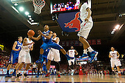 DALLAS, TX - FEBRUARY 01: Geron Johnson #55 of the Memphis Tigers drives to the basket against the SMU Mustangs on February 1, 2014 at Moody Coliseum in Dallas, Texas.  (Photo by Cooper Neill/Getty Images) *** Local Caption *** Geron Johnson