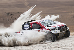AREQUIPA, Jan. 11, 2019  Dutch driver Bernhard ten Brinke and Frence co-driver Xavier Panseri compete during the 4th stage of the 2019 Dakar Rally Race, near La Joya, Arequipa province, Peru, on Jan. 10, 2019. Bernhard ten Brinke and Xavier Panseri finished the 4th stage with 6 hours 34 minutes and 51 seconds. (Credit Image: © Xinhua via ZUMA Wire)